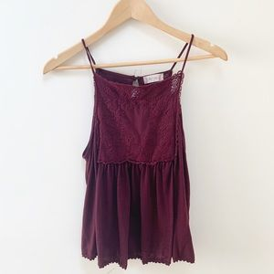 Altar'd State maroon lace detailing blouse S